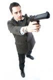 Homme retenant un canon Images stock