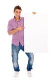 Homme retenant un panneau-réclame Photos stock