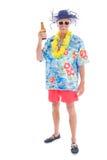 Homme retiré à la plage photographie stock