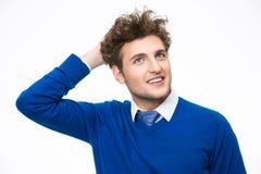 Homme réfléchi heureux d'affaires recherchant Photographie stock libre de droits