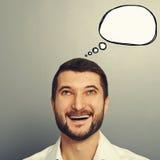 Homme riant avec la bulle vide de la parole Images libres de droits