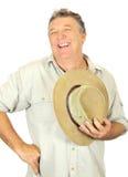 Homme riant avec le chapeau Images libres de droits