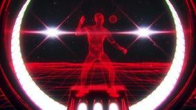 homme rouge de 3D Wireframe à l'arrière-plan de mouvement de boucle du cyberespace VJ illustration libre de droits