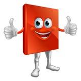 Homme rouge de livre faisant des pouces vers le haut Images stock