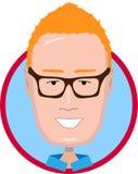 Homme roux avec l'icône en verre illustration stock