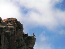 Homme s'asseyant sur une saillie ci-dessus. Photographie stock libre de droits