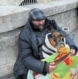 Homme sans abri avec des chiens en Notre Dame, Paris Photographie stock libre de droits