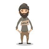 Homme sans abri de Shaggy Bearded Photos stock