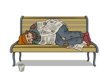 Homme sans abri sur le vecteur d'art de bruit de banc Image libre de droits