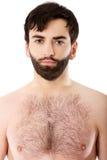 Homme sans chemise de sourire Images libres de droits