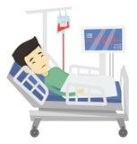 Homme se situant dans l'illustration de vecteur de lit d'hôpital Photo libre de droits
