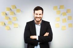 Homme se tenant à côté d'un mur avec des post-its Photos stock