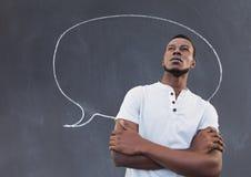 Homme se tenant en Front Of Blackboard illustration stock