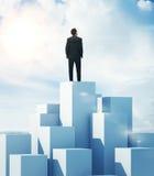 Homme se tenant sur le plus haut cube Images libres de droits