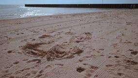 Homme se trouvant sur le sable Équipez se lèvent de la plage et sortent du cadre banque de vidéos