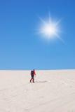 Homme seul avec le ski Images libres de droits