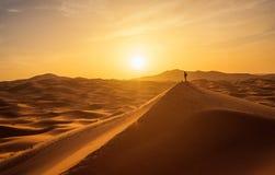 Homme seul en Sahara Desert Photos libres de droits