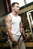 Homme sexy sportif posant dans le gymnase Image stock