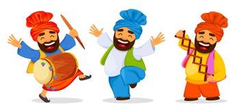 Homme sikh de danse drôle célébrant des vacances, ensemble illustration libre de droits