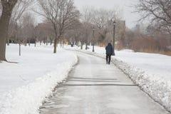 Homme solitaire marchant le long des plages de Toronto Photos libres de droits
