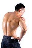 Homme souffrant de la douleur sur l'épaule Photos stock