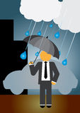 Homme sous la pluie Images stock
