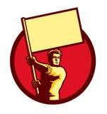 Homme soviétique de patriote de style de propagande tenant le vecteur de drapeau illustration stock