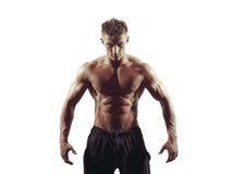 Homme sportif fort sur le fond blanc Images stock