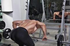 Homme sportif puissant bel faisant l'exercice pour le dos avec le barbell photos stock
