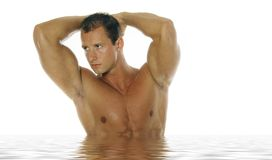 Homme sportif sexy dans l'eau Photo libre de droits