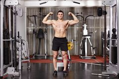 Homme sportif tirant les poids lourds Photo stock
