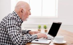 Homme supérieur à l'aide de l'ordinateur portable avec la maquette d'écran vide Photographie stock libre de droits