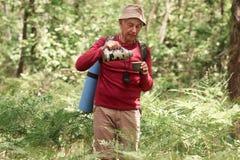 Homme supérieur énergique ayant l'heure du déjeuner dans la forêt pendant les vacances en camping, tenant le thermos, boisson de  image stock