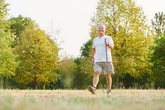 Homme supérieur actif pendant la promenade nordique heatlhy Image libre de droits