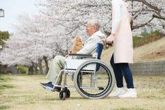Homme supérieur asiatique s'asseyant sur un fauteuil roulant avec le travailleur social et le chien Photographie stock