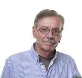 Homme supérieur avec les verres et la moustache Photographie stock libre de droits