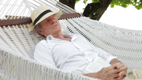 Homme supérieur détendant dans l'hamac de plage clips vidéos