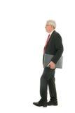 Homme supérieur d'affaires avec le parapluie Photographie stock