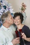 Homme supérieur embrassant la femme sous le gui Photo libre de droits