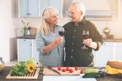 Homme supérieur gai et femme appréciant le romance dans la chambre de cuisinier Image libre de droits