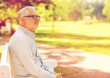 Homme supérieur heureux en verres se reposant au parc d'été Photographie stock