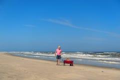 Homme supérieur marchant avec le chien à la plage Photographie stock libre de droits