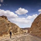 Homme supérieur prenant des photos au téléphone Death Valley images libres de droits
