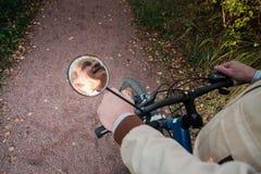 Homme supérieur sur le tour de cycle dans la campagne Photographie stock libre de droits
