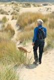 Homme supérieur trimardant avec le chien Image libre de droits