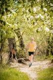 Homme supérieur courant dans la forêt Photo stock