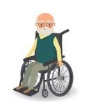 Homme supérieur dans le fauteuil roulant sur un fond blanc Photos libres de droits