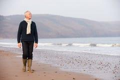 Homme supérieur marchant le long de la plage d'hiver Photo stock