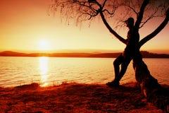 Homme sur l'arbre La silhouette de l'homme solitaire se reposent sur la branche de l'arbre de bouleau au coucher du soleil au riv Photos stock