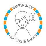 Homme sur la bannière, Barber Shop, coupes de cheveux et rasages Images libres de droits